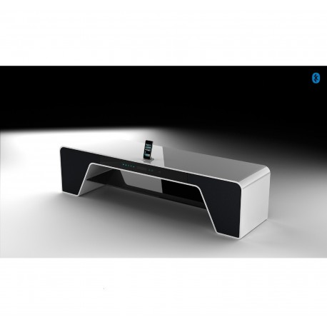 Mueble tv de dise o n rdico lacado blanco y roble for Mueble tv multimedia