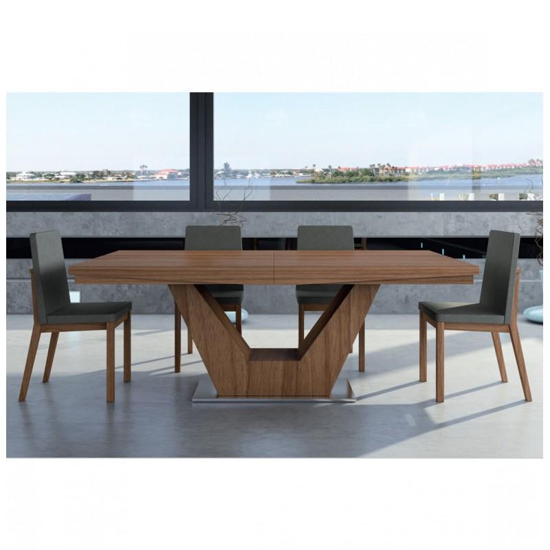 Mesa de madera natural extensible con pie central modelo for Modelos de mesas de comedor de madera