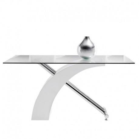 Mesa de comedor Ecco lacada blanca y acero, sobre cristal templado