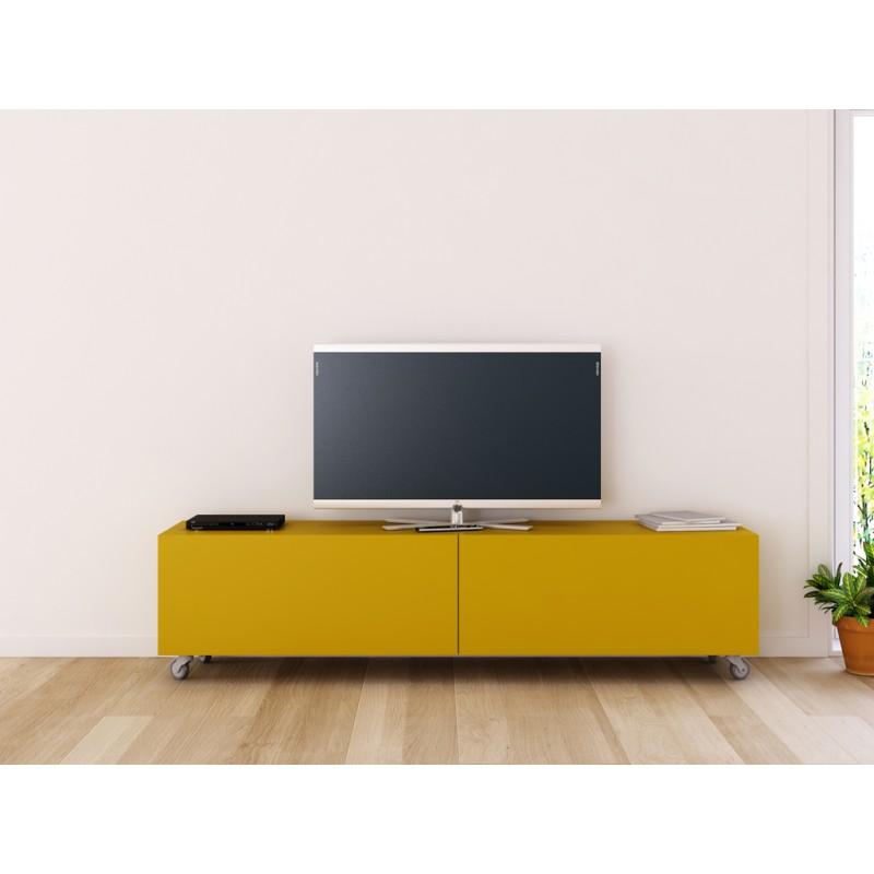 Mueble para tv lisboa mueble acabado lacado y base con - Mueble tv con ruedas ...