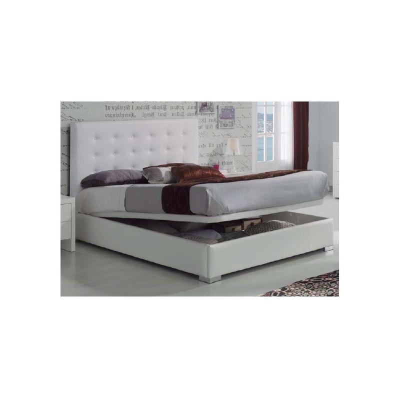Cama tapizada eva en ecopiel blanca y cabezal con capiton for Cama tapizada