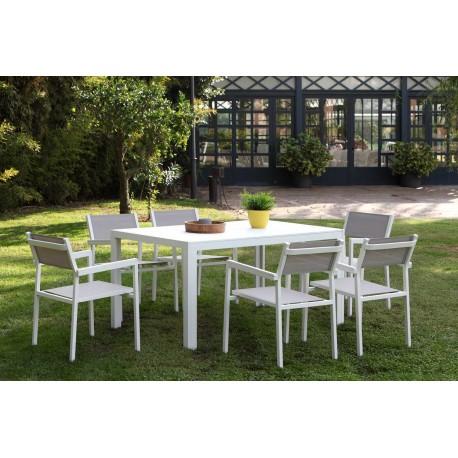 Set de mesa rectangular + 6 sillones Calpe de aluminio blanco y textil