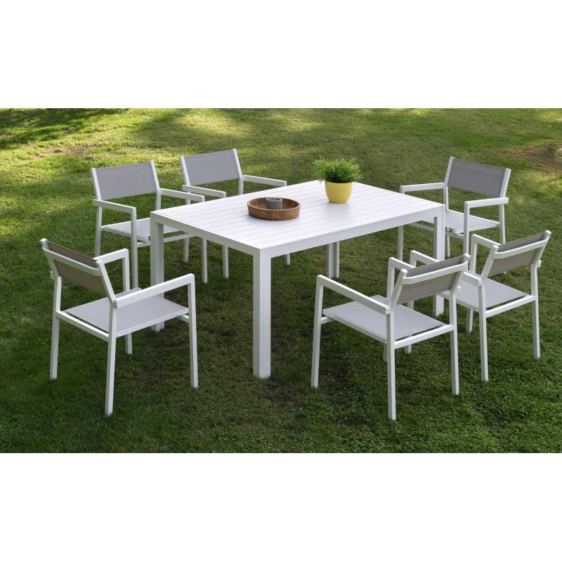 Set de mesa rectangular 6 sillones calpe de aluminio for Set sillas comedor