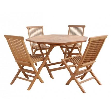 Mesa Octogono y sillas Teca