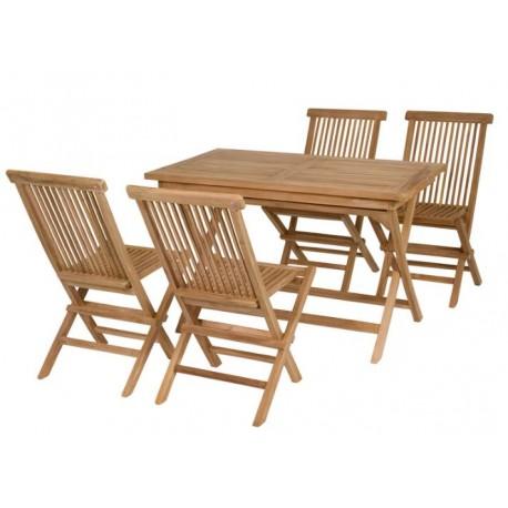 Mesa rectangular y sillas Teca