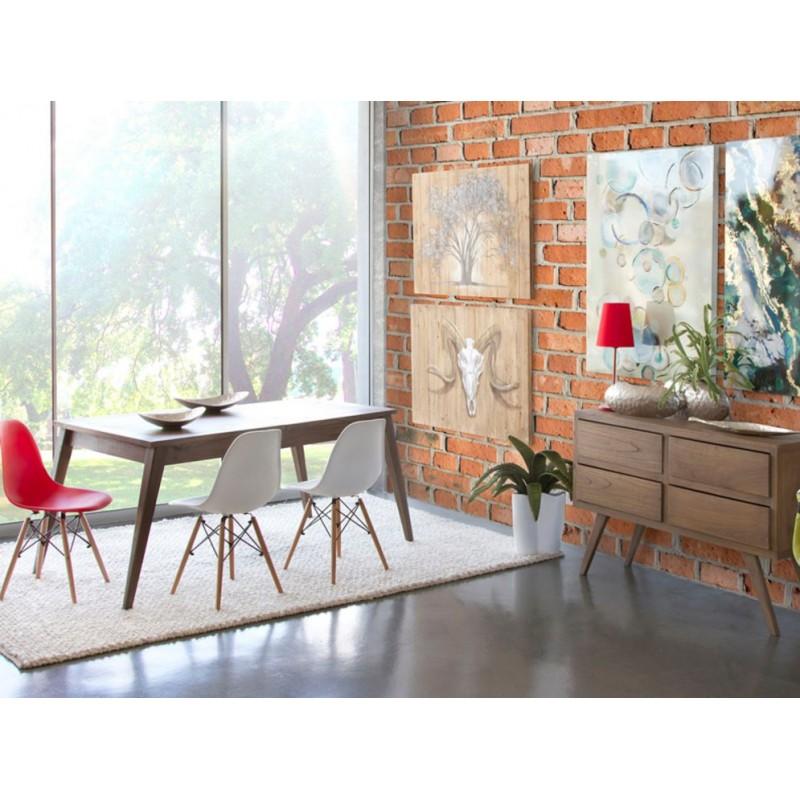 Mesa de comedor extensible colonial de madera de Mindi.
