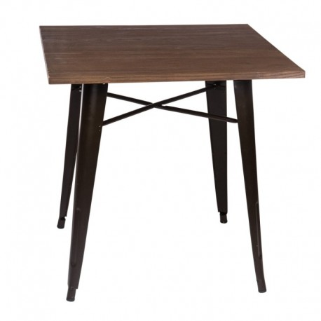 Mesa Tolix cuadrada madera
