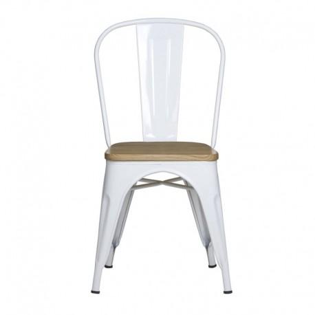 Silla Tolix con asiento madera