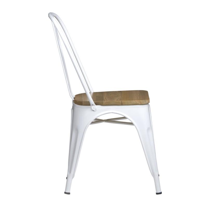 Silla metalica tolix marron vintage silla tolix con asiento de madera - Silla tolix ...