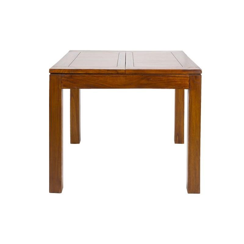 Mesa de comedor cuadrada de estilo colonial Forest y extensible.