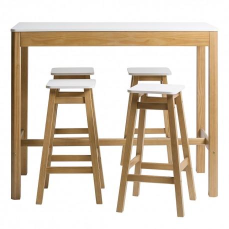a6861855da81 Conjunto de mesa alta y 4 taburetes Petra en madera de pino y laca.