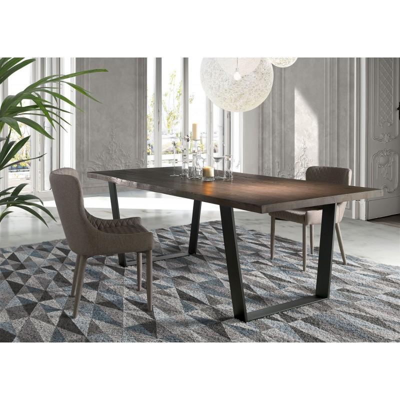Mesa de comedor con tapa maciza de madera de fresno y pies - Mesa de madera maciza ...
