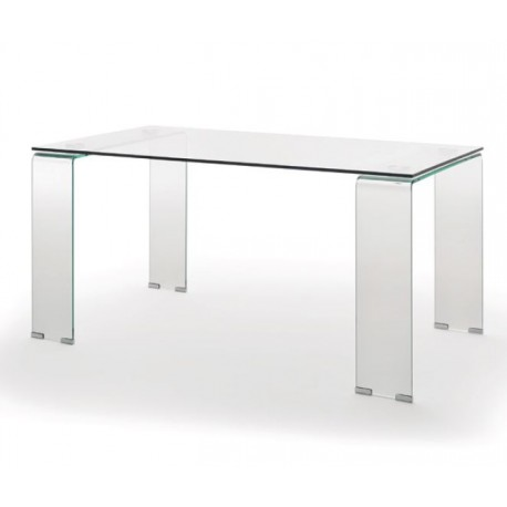 Mesa de comedor totalmente de cristal. Mesa fija de diseño moderno.
