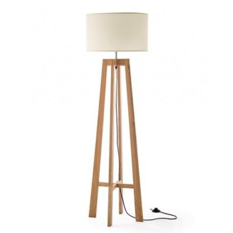 L mpara de pie tr pode con pie de fresno natural y - Lamparas de pie minimalistas ...