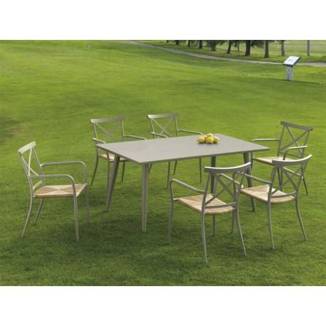 Conjunto mesa y 6 sillas Algarve