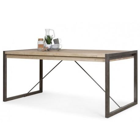 Mesa comedor Tundra de estilo industrial de madera de acacia y hierro.