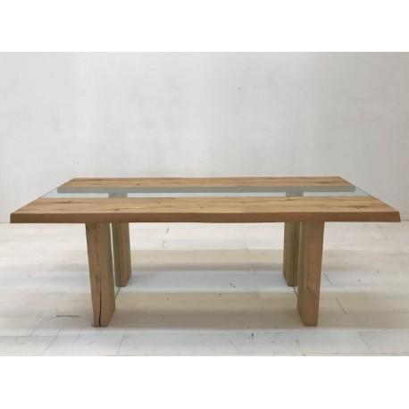 Mesa Lucca de madera y cristal