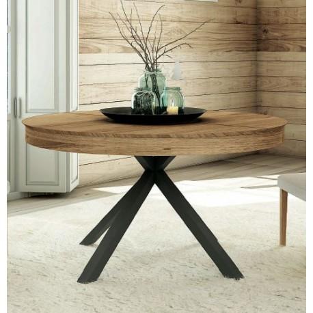 Mesa comedor Silvia. Mesa de madera redonda y extensible en roble