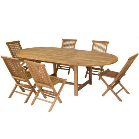 Mesa extensible y sillas Teca