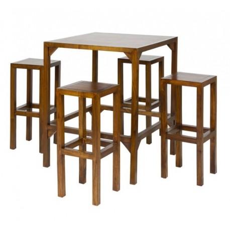 Set mesa alta y 4 taburetes Gala