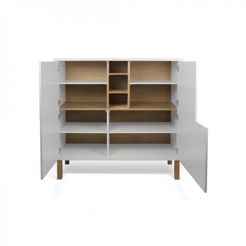 Aparador diseño nordico modelo Niche, blanco con patas de madera