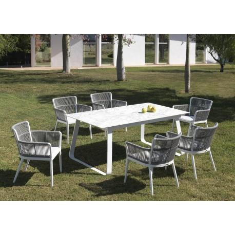 Conjunto mesa y 6 sillones Siena