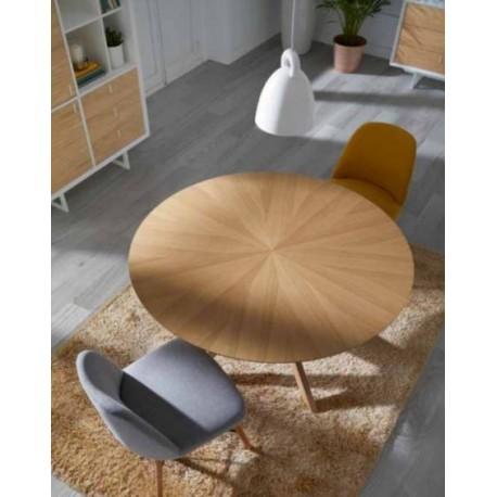 Mesa de comedor redonda nogal