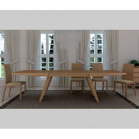 Mesa de comedor de madera extensible, diseño moderno, modelo Fly.