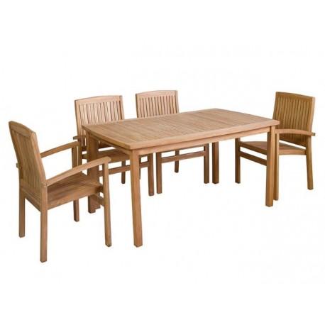 Conjunto Mesa y sillones Teca