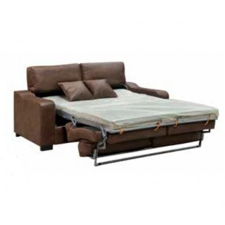 Sofa cama solver tapizado en polipiel color chocolate o for Sofa cama polipiel