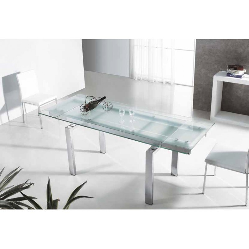 Mesa de comedor moderna con cristal extensible modelo garona for Mesa de cristal extensible