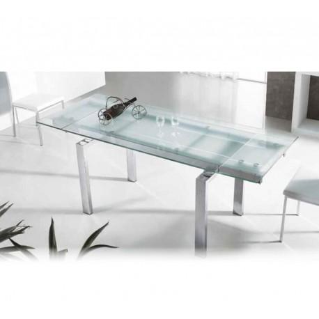 Mesa De Comedor Moderna Con Cristal Extensible Modelo Garona