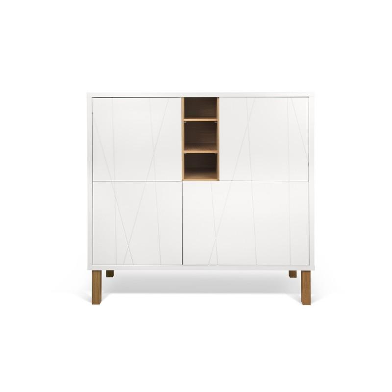 Aparador Branco Com Gaveta ~ aparador niche alto con patas de madera y puertas, diseño nórdico