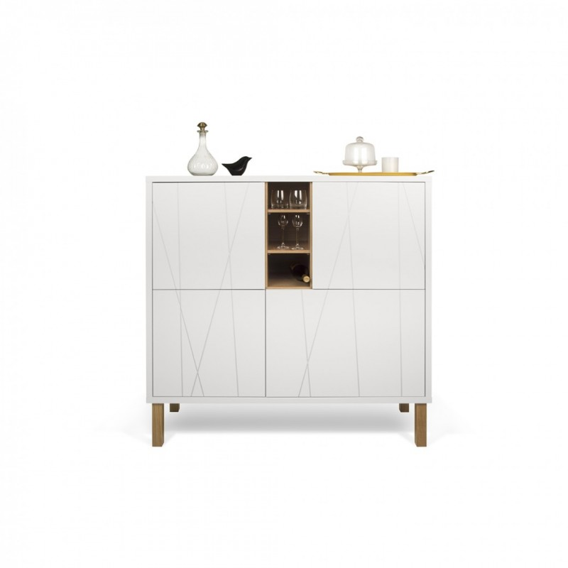 Adesivo De Cabeceira Para Parede ~ aparador niche alto con patas de madera y puertas, diseño