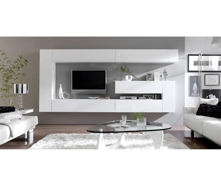 Mueble de salón de diseño, composición colgada a pared, mueble lacado.