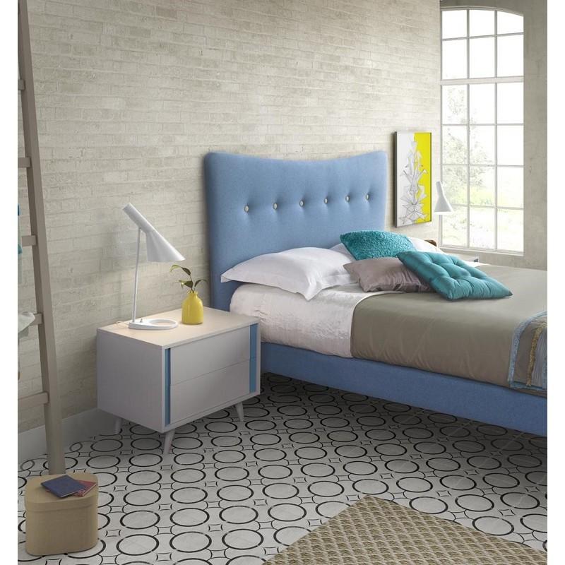 Cama tapizada nordic con capiton en el cabezal cama for Cama tapizada