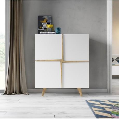 Mueble cubo o vitrina de diseño Aspen con puertas. Madera roble-blanco