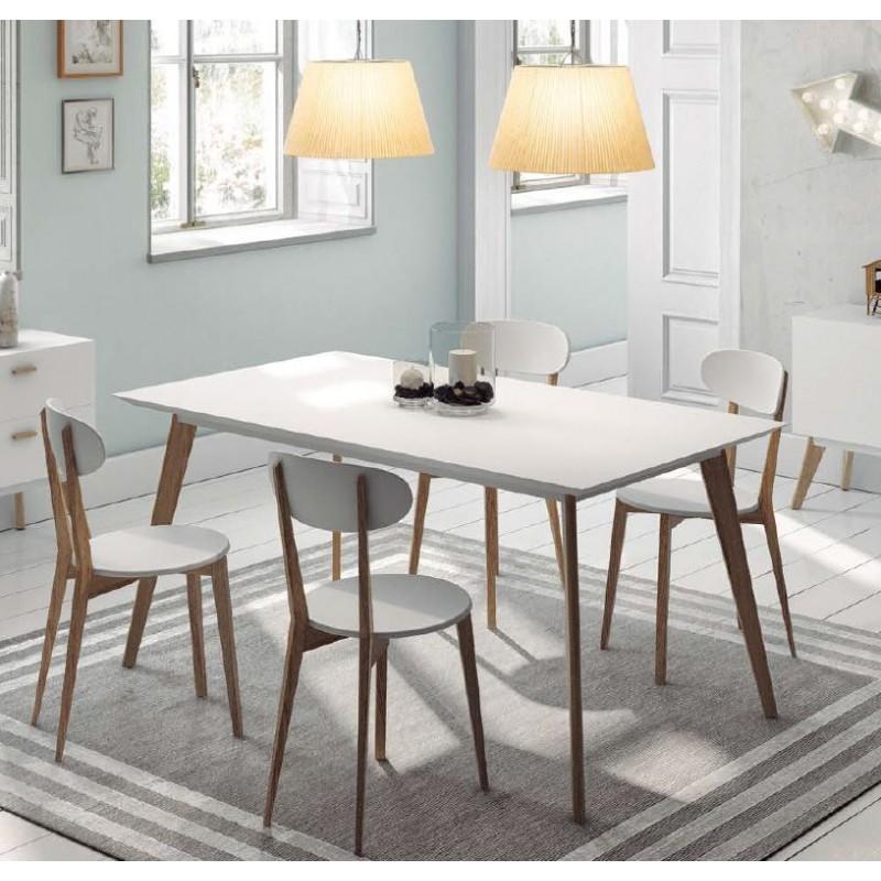 Mesa comedor de dise o n rdico lacado blanco y roble for Mesa diseno nordico