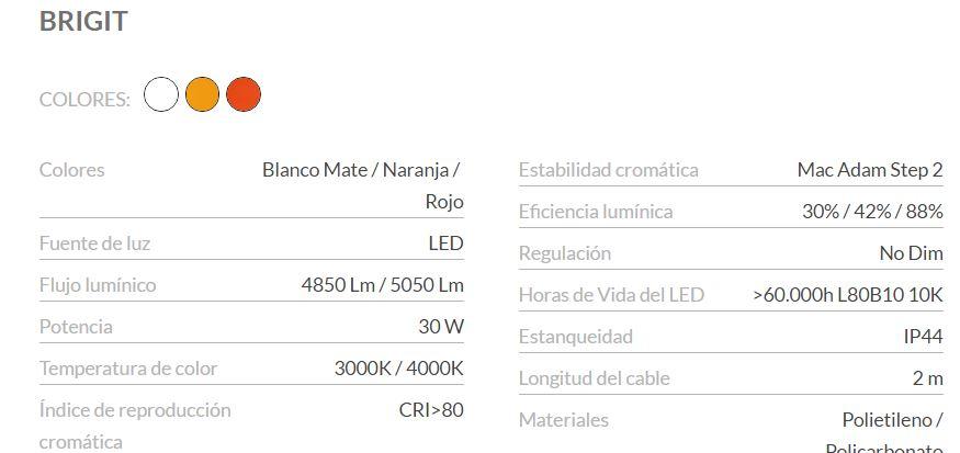 Características lámpara Brigit