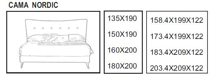 Medidas cama Nordic Dugar Home